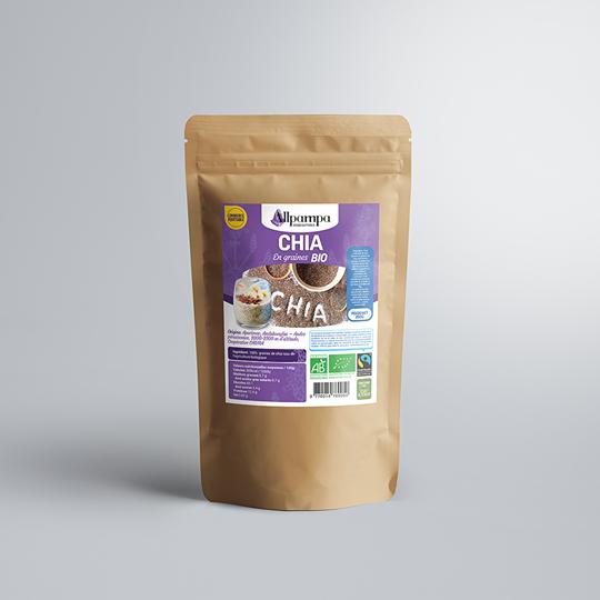 Graines de chia d'Allpampa, produits alimentaires biologiques et équitables, en vrac ou sachet, en provenance d'Amérique latine