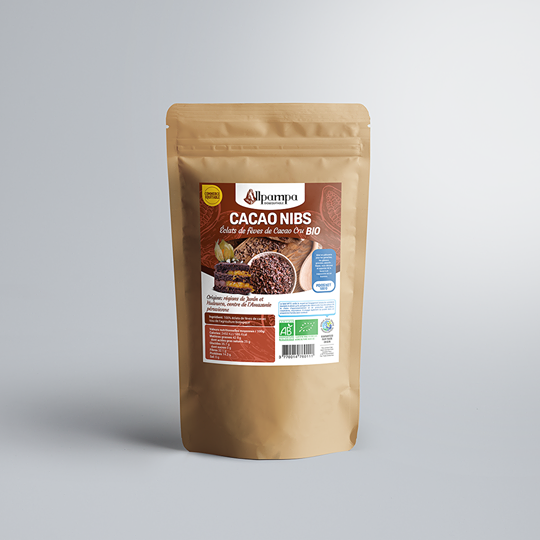 Éclats de fèves de cacao d'Allpampa, produits alimentaires biologiques et équitables, en vrac ou sachet, en provenance d'Amérique latine